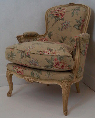 Vintage French Louis XV Bergere Armchair in a French Floral Linen Fabric