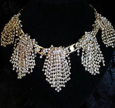 INC M Haskell Necklace Crystal cluster chunky statement waterfall Goldtone link