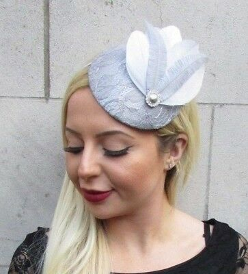Grey Silver Lace Feather Pillbox Hat Fascinator Races Wedding Hair Ascot 6507