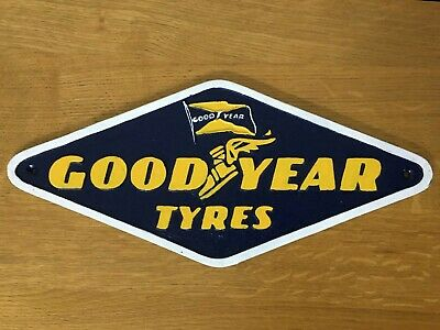 Goodyear Tires Sign Cast Iron American Garage Logo Plaque Large 39cm Wall Emblem