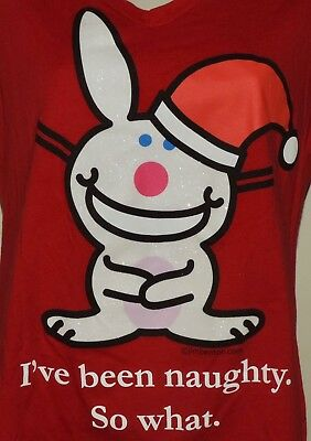Jim Benton Happy Bunny Christmas T-Shirt I've Been Naughty So What Junior L Red