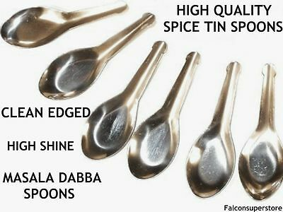 6 Spice Small Miniature Spoons for Indian Masala Dabba Spice Storage Set Tin Box