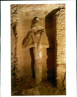 Archeological findings:an statue of the ancient egyptian deity. - Vintage photo