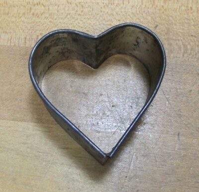 Antique Tin Heart Shaped Cookie Cutter old figural food butter mold decorative