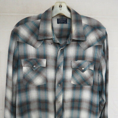 Vintage Shadow Plaid Shirt Rayon Shirt Rockabilly Western Pearl Snaps Mens Large