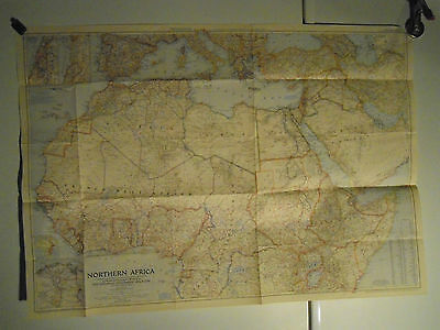 National Geographic Wall Map of Northern Africa 1954