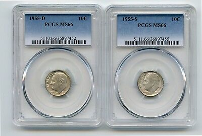 1955-D/1955-S Silver Roosevelt Dimes (MS66) PCGS (Two Coins)