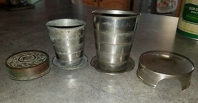lot of 2 vintage collapsible camping cups metal