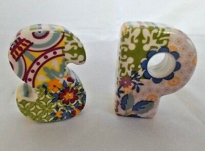 Colorful S + P Salt & Pepper Shakers Summer Design Flowers & Stripes