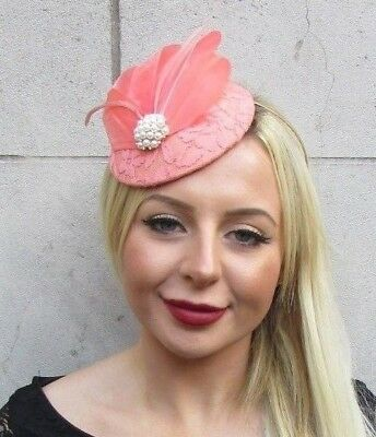 Peach Coral Nude Cream Feather Pillbox Hat Fascinator Races Wedding Hair 6519