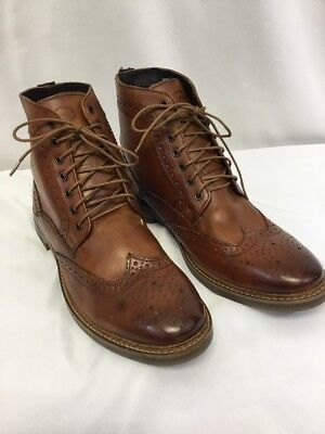 5837de8db62 BASE LONDON MEN'S Hurst Wingtip Leather Boot Washed Tan SIZE Euro 45 US 12M