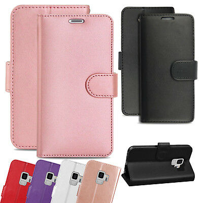 Genuine Leather Folio Flip Book Wallet Case Cover For Samsung S7, S8, S9 Plus