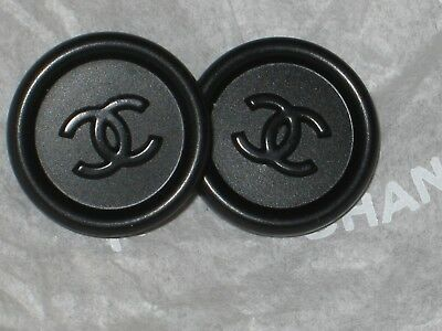 CHANEL 2 CC LOGO BLACK BUTTONS 16 MM/ UNDER  3/4'' NEW stamped stamped  LOT 2