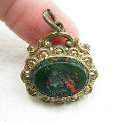 Antique Gold Filled Double Sided Intaglio Bloodstone Carnelian Pocket Watch Fob