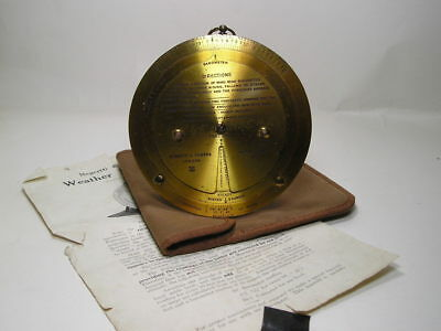 c1915 Brass Negretti & Zambra Patent 6276 Barometer Weather Forcaster Calculator