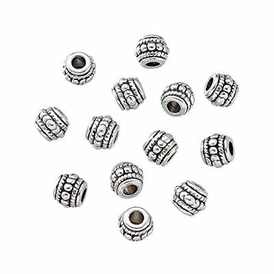 Pandahall 20pcs Tibetan Silver Antique Silver Barrel Beads Charms for Jewelry