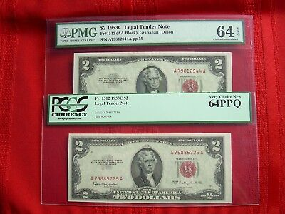 (2) 1953 $2 Red Seal Notes PCSG/PMG