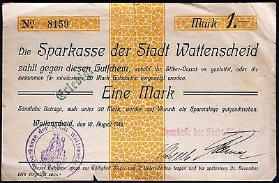 WATTENSCHEID 1914 1 Mark Rare early WWI German Notgeld