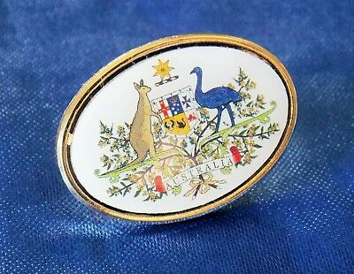 Australian Coat Of Arms Lapel Badge Gold Plated 25Mm Wide With 1 Pin On The Back