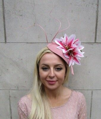 Large Dusky Blush Pink Lily Flower Feather Hat Fascinator Headband Hair 6524