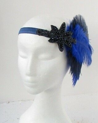 Navy Royal Blue Beaded Feather Headpiece 1920s Headband Flapper Gatsby Vtg 6529