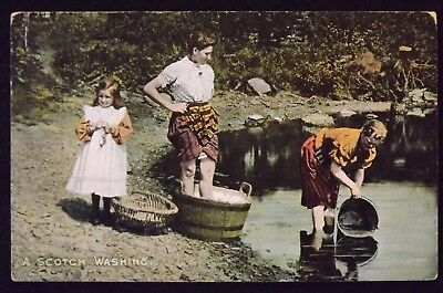 A SCOTCH WASHING Postcard Posted 1905 Grantown on Spey Scotland