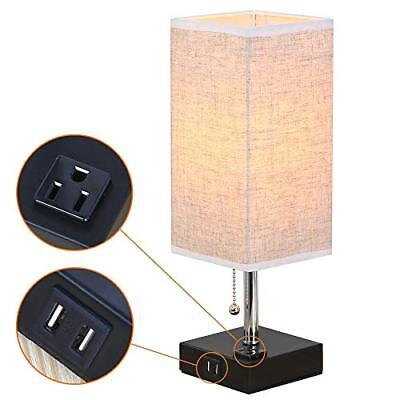 ZEEFO Dual 2.1A USB Charging Port Table Lamps with Outlet, Simple Design Beds...