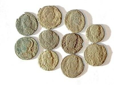 10 ANCIENT ROMAN COINS AE3 - Uncleaned and As Found! - Unique Lot 31913