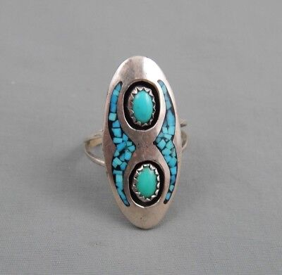 VIntage Old Pawn Native American Sleeping Beauty Turquoise Shadowbox Ring sz 7