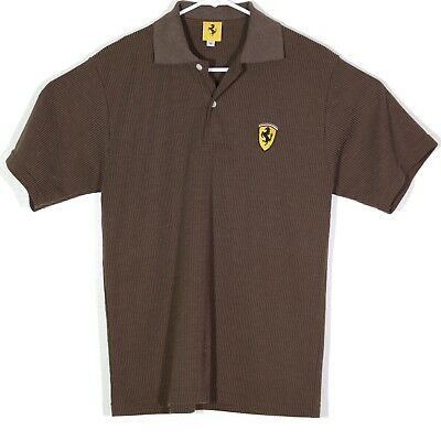 9212984e972c16 Vintage Ferrari Mens Polo Golf Shirt Large 90s 1996 Brown Ribbed  Embroidered online retailer 76899 9c692 ...