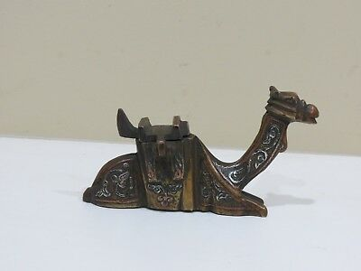 ANTIQUE BRASS CAMEL INLAID SILVER & COPPER Inkwell