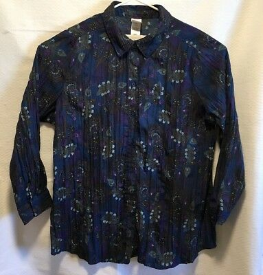 6492ef28 Just My Size JMS PLUS 3X Navy Floral Button Front Shirt Long Sleeves  Crinkled