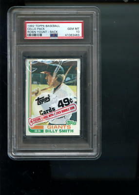 1982 Topps Baseball Card Cello Pack Unopened #435 Robin Yount PSA 10 Graded Wax