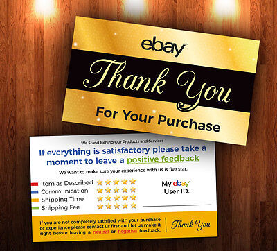 100 ebay Seller THANK YOU Insert Cards 5 Star Feedback Rating