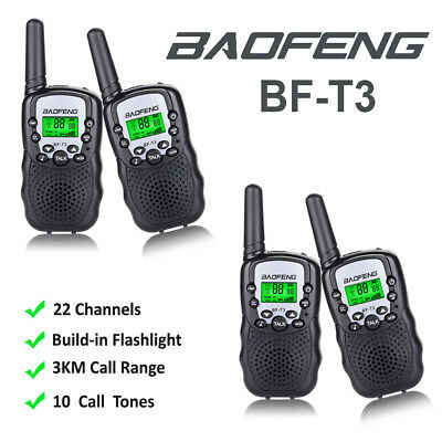 4x BAOFENG Mini Walkie Talkie 3-5KM BF-T3 Two Way Radio Child Kid Toy Interphone