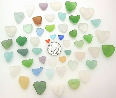 T20- 50 Pc Lot Rare Hearts - Aqua Blue Lavender Yellow Pink Lime Green Sea Glass