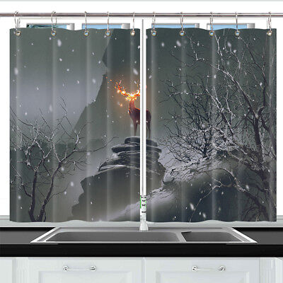 Deer with Fire Horns Window Curtain Treatments Kitchen Curtains 2 Panels 55X39""