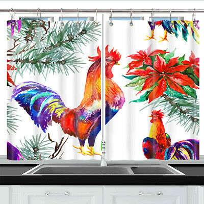 Watercolor Rooster Window Curtain Treatments Kitchen Curtains 2 Panels 55X39""