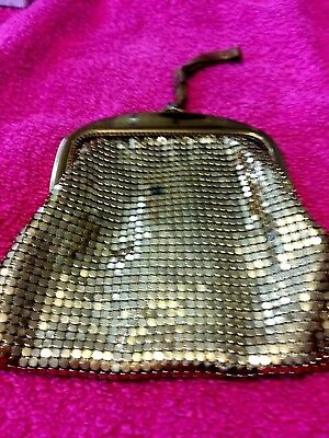 Vintage small Whiting and Davis gold mesh bag with mesh handle