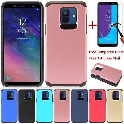 For Samsung Galaxy A6 2018 Shockproof Slim Rubber TPU Case Cover+Tempered Glass