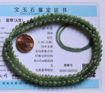 Certified Natural JADE (Grade A) Icy Green Jadeite Small Beads Necklace #N257