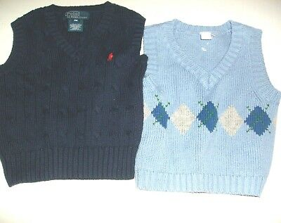 2 New Ralph Lauren Polo Sweater Vest Size 6 - 9M
