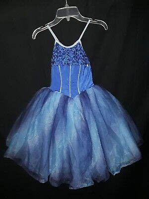 COSTUME GALLERY Size CM M Dance Costume Blue Sequins Tulle Ballet