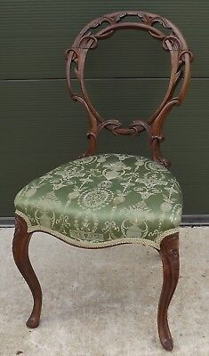 Antique Victorian Carved Walnut-Framed Upholstered Occasional Hall Chair