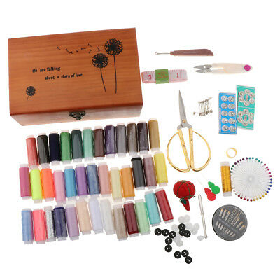 Travel Sewing Kits Vintage Wooden Storage Box Sewing Tools Supplies for Kids