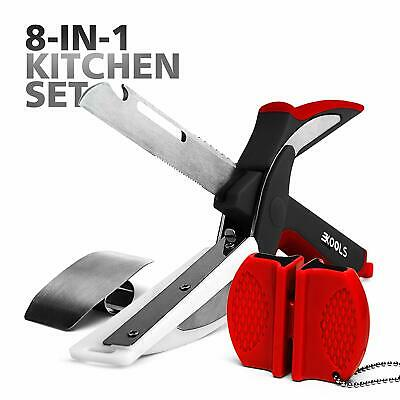 Clever Stainless Steel Knife with Cutting Board Built-in -Food Chopper Set  Vege