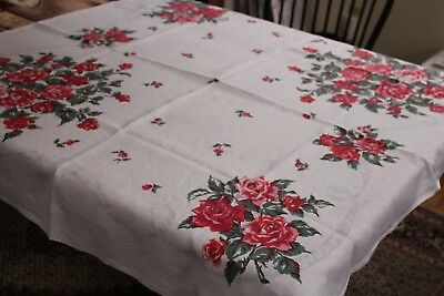 Vintage Linen Kitchen Tablecloth Shaded Roses 46x50