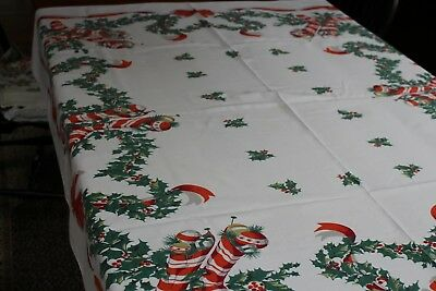 Vintage Cotton Christmas Tablecloth Holly Bows Stockings+++ 52x56