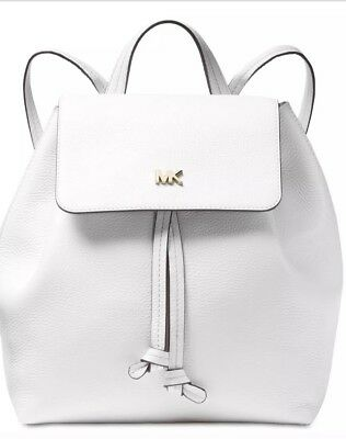 781e2d3d6d98 New michael kors Junie Flap bag leather MK logo Backpack Drawstring snap  white
