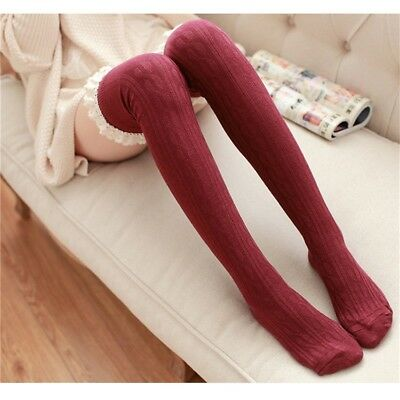 Girls Ladies High Over The Knee Sock Twist Lace Over Knee Long Stockings Warm 8C